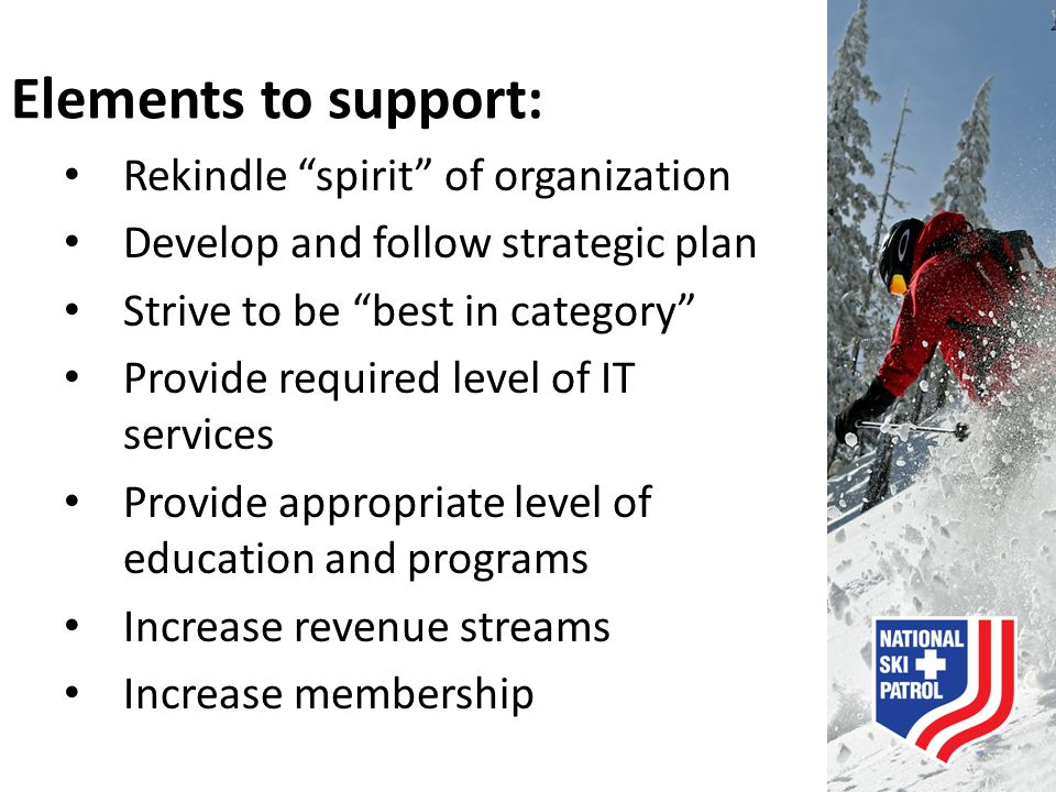 Elements to support: Rekindle spirit of organization