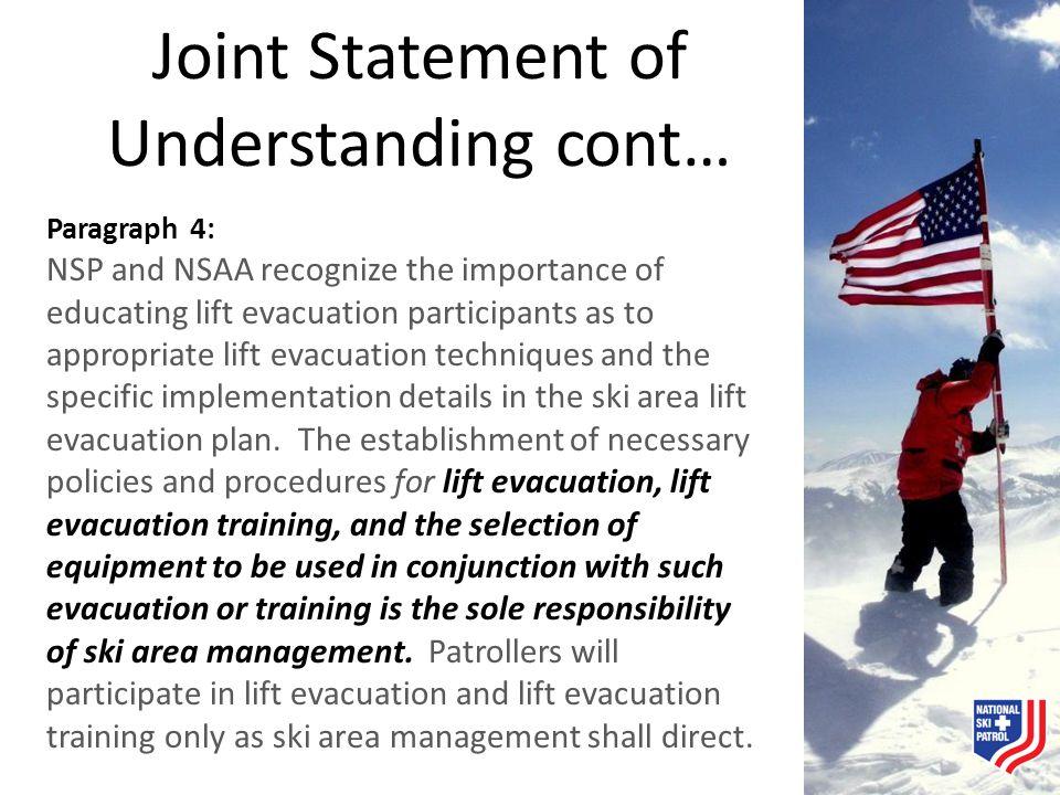 Joint Statement of Understanding cont…
