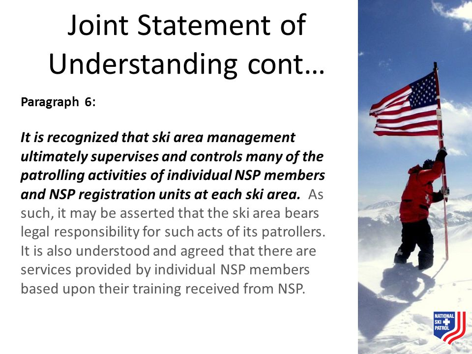 Joint Statement of Understanding cont…