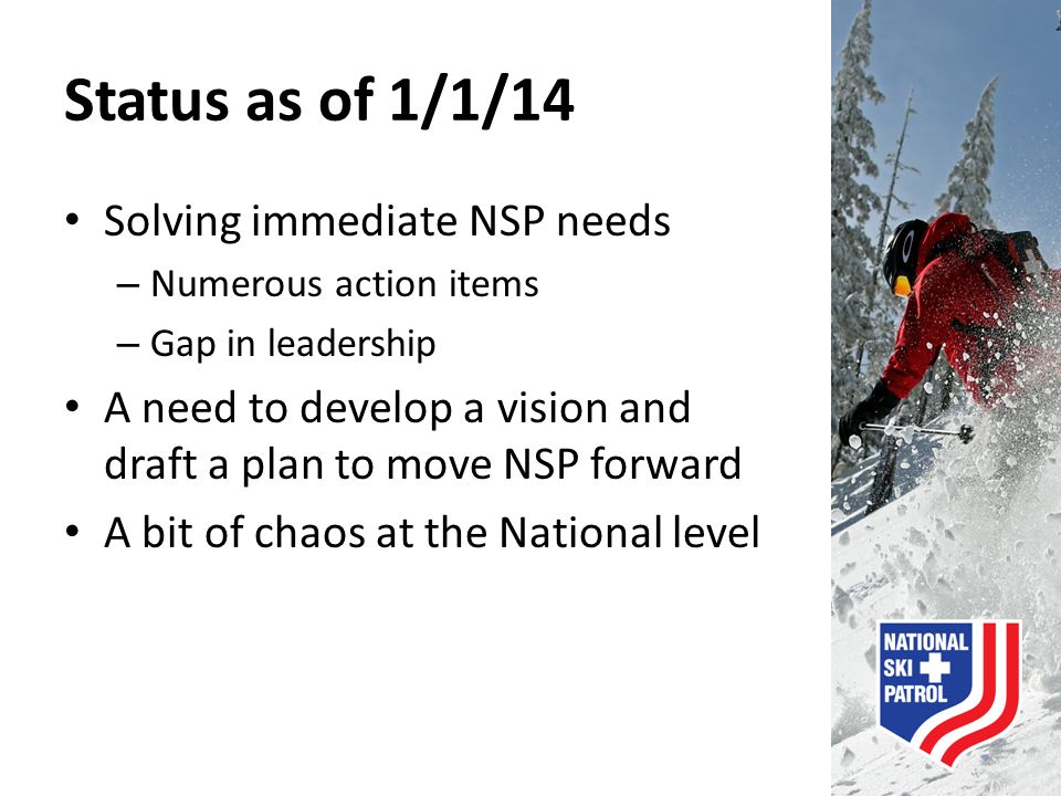 Status as of 1/1/14 Solving immediate NSP needs