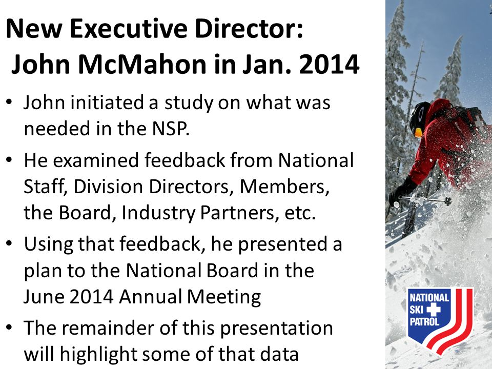 New Executive Director: John McMahon in Jan. 2014