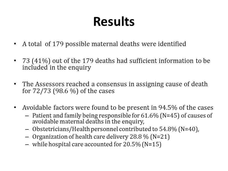 Results A total of 179 possible maternal deaths were identified