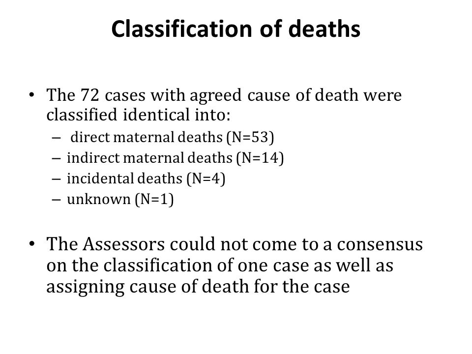 Classification of deaths