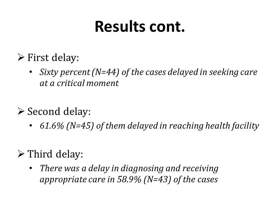 Results cont. First delay: Second delay: Third delay: