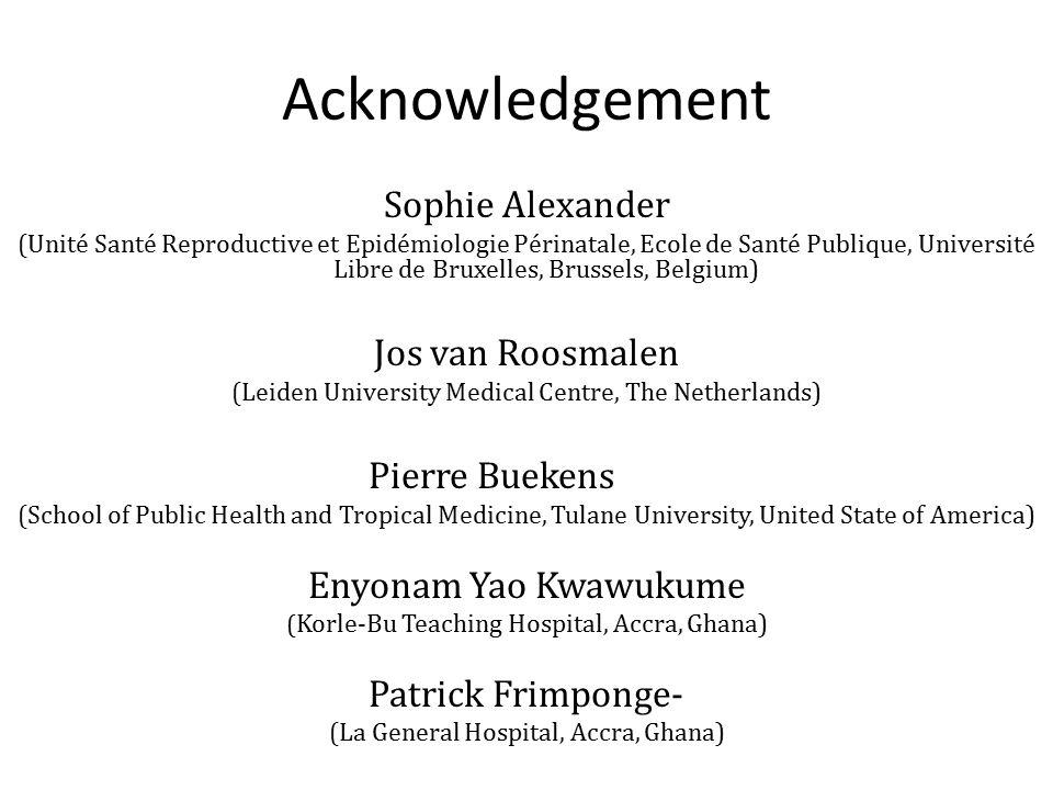 Acknowledgement Sophie Alexander Jos van Roosmalen Pierre Buekens