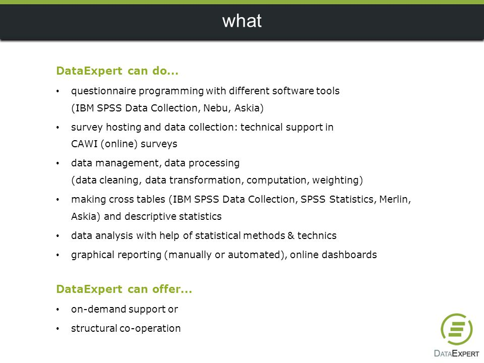 what DataExpert can do... DataExpert can offer...