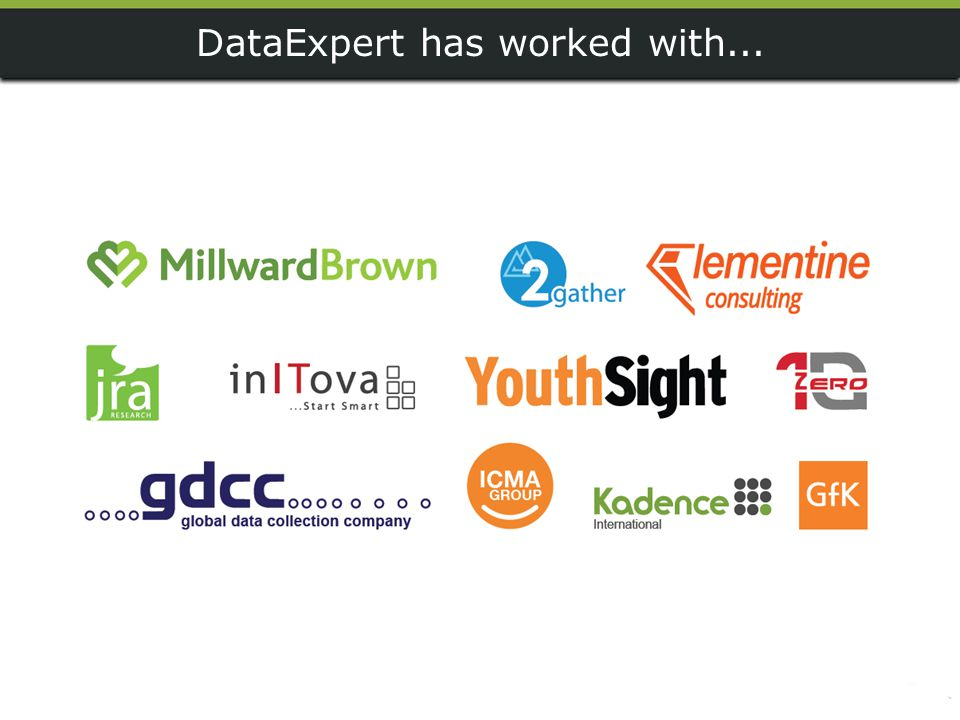 DataExpert has worked with...