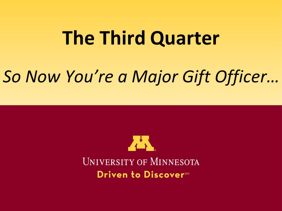 So Now You're a Major Gift Officer…