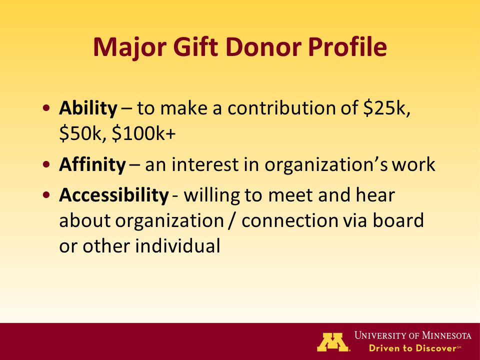 Major Gift Donor Profile