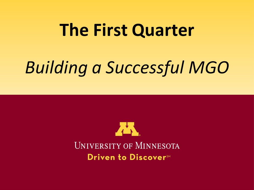 Building a Successful MGO