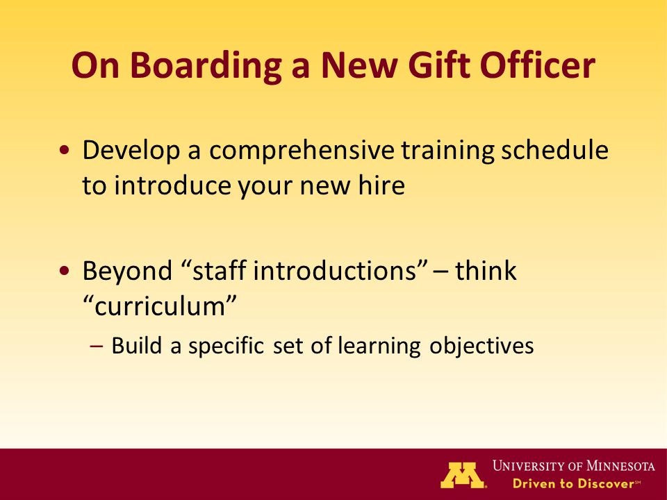 On Boarding a New Gift Officer