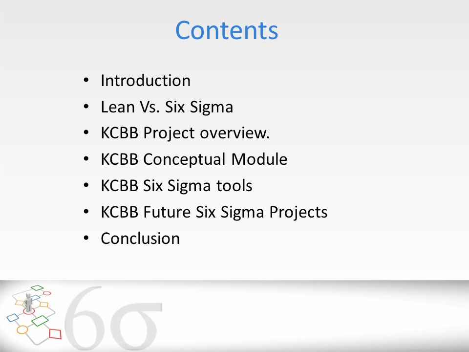 Contents Introduction Lean Vs. Six Sigma KCBB Project overview.