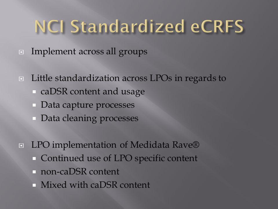 NCI Standardized eCRFS