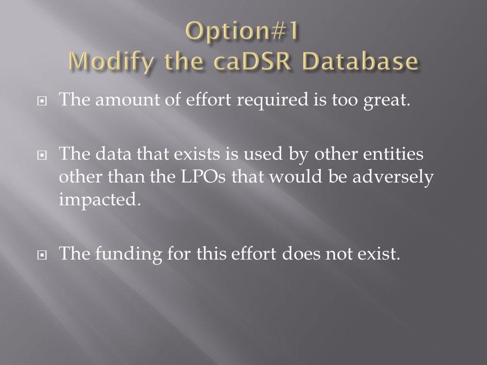 Option#1 Modify the caDSR Database