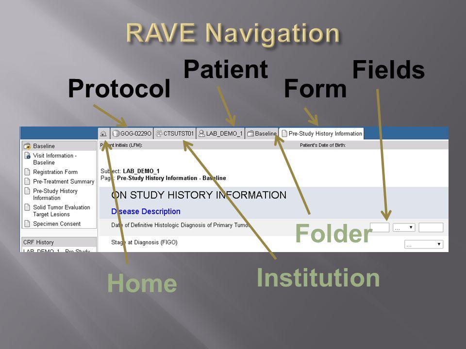 RAVE Navigation Patient Fields Protocol Form Folder Home Institution