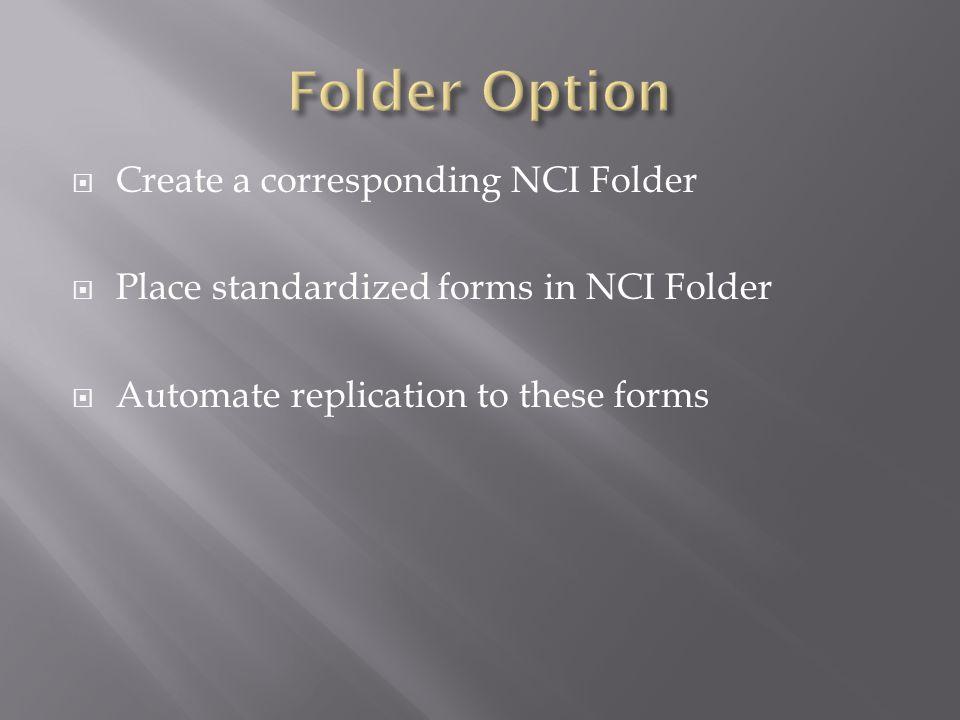 Folder Option Create a corresponding NCI Folder