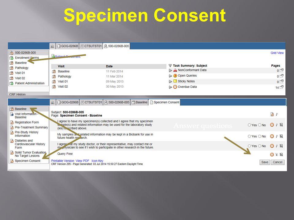 Specimen Consent Click the Baseline Folder icon