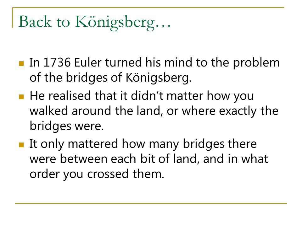 Back to Königsberg… In 1736 Euler turned his mind to the problem of the bridges of Königsberg.