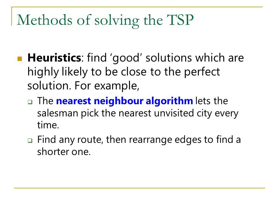 Methods of solving the TSP