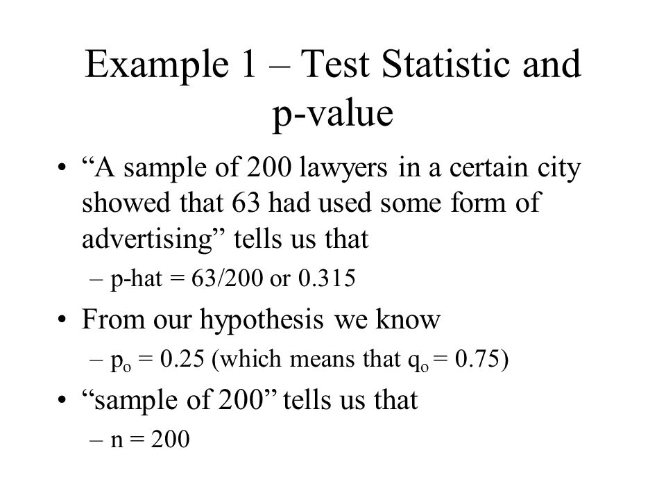 Example 1 – Test Statistic and p-value