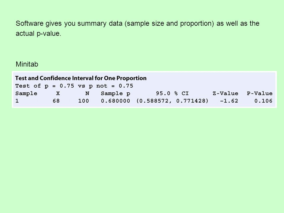 Software gives you summary data (sample size and proportion) as well as the actual p-value.