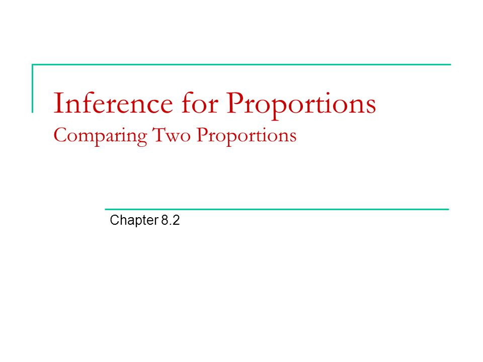 Inference for Proportions Comparing Two Proportions
