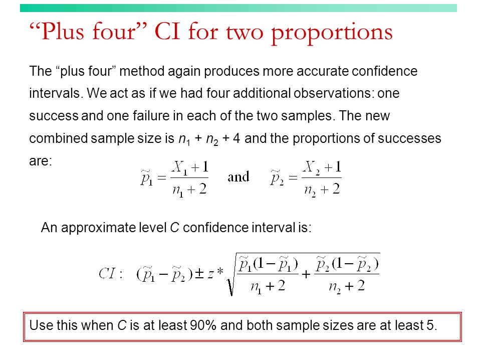 Plus four CI for two proportions