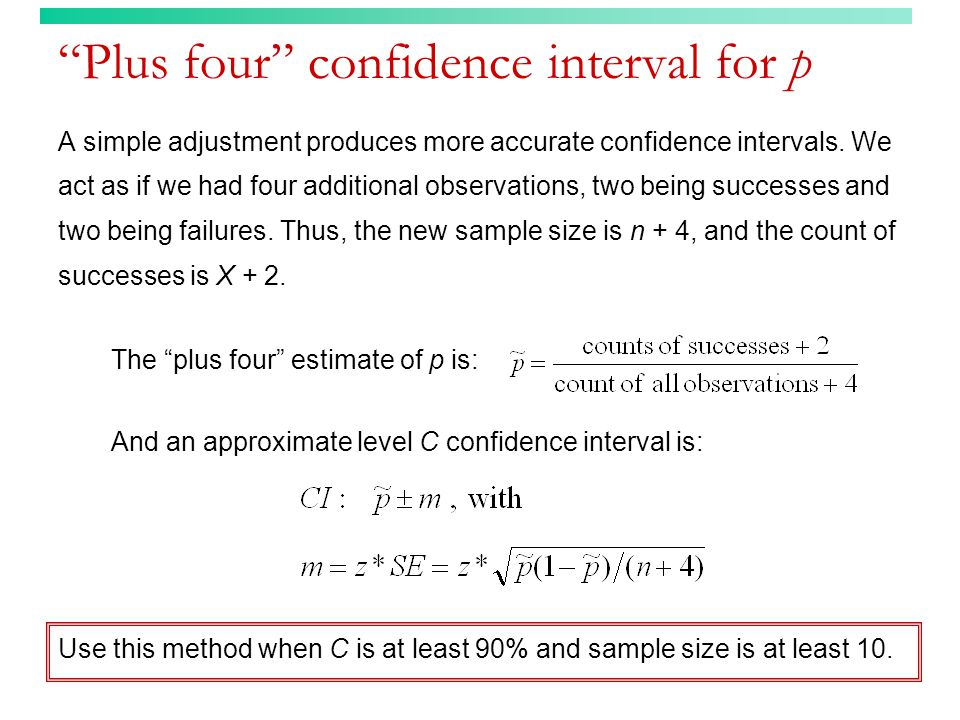 Plus four confidence interval for p