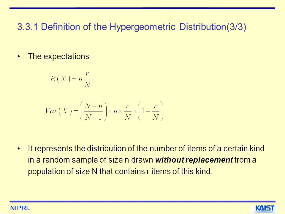 3.3.1 Definition of the Hypergeometric Distribution(3/3)
