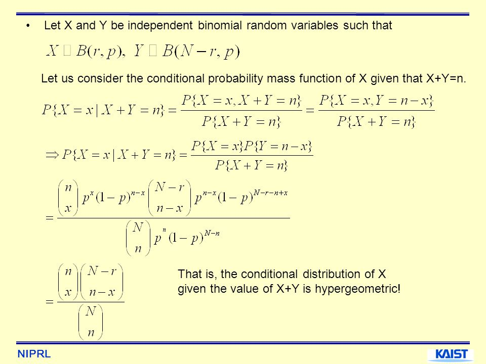 Let X and Y be independent binomial random variables such that