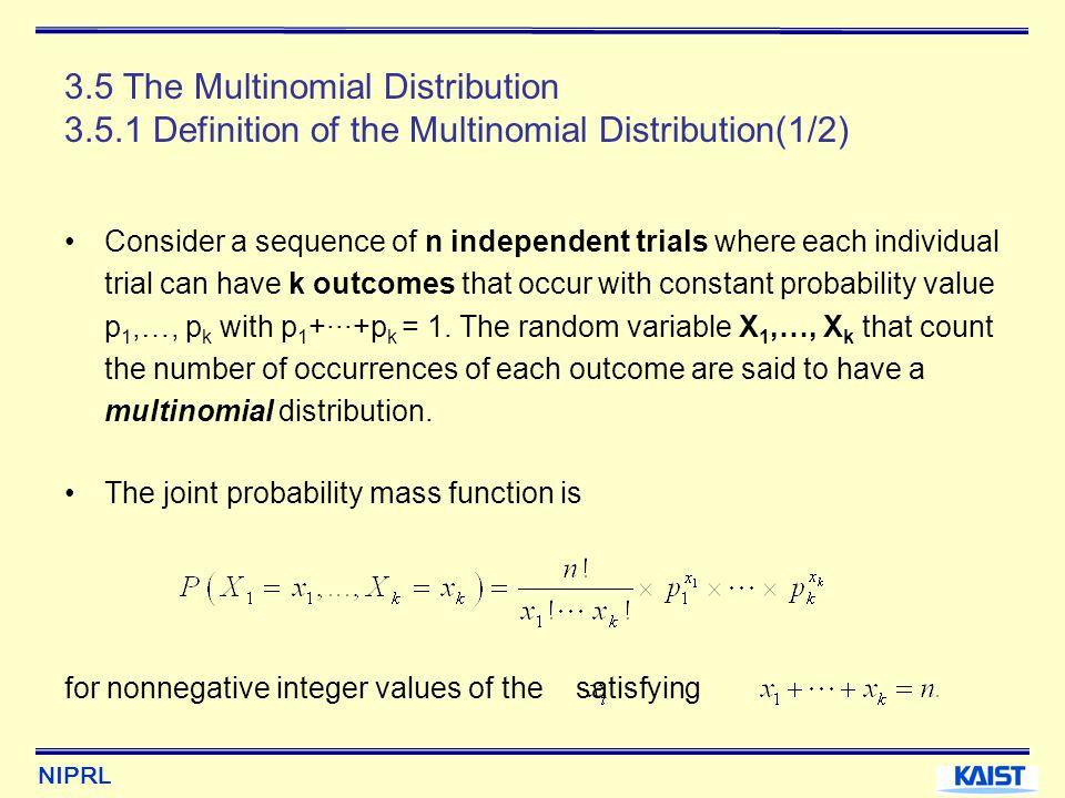 3. 5 The Multinomial Distribution 3. 5
