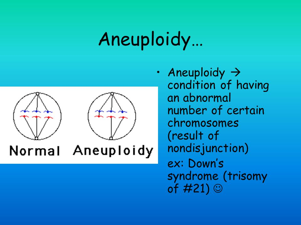 Aneuploidy… Aneuploidy  condition of having an abnormal number of certain chromosomes (result of nondisjunction)