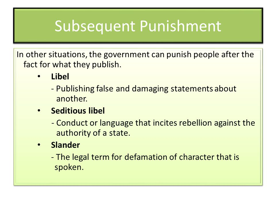 Subsequent Punishment