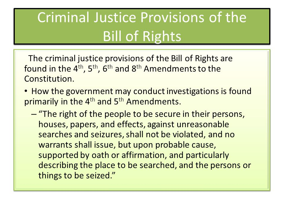 Criminal Justice Provisions of the Bill of Rights
