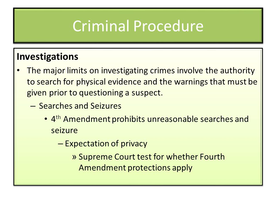 Criminal Procedure Investigations