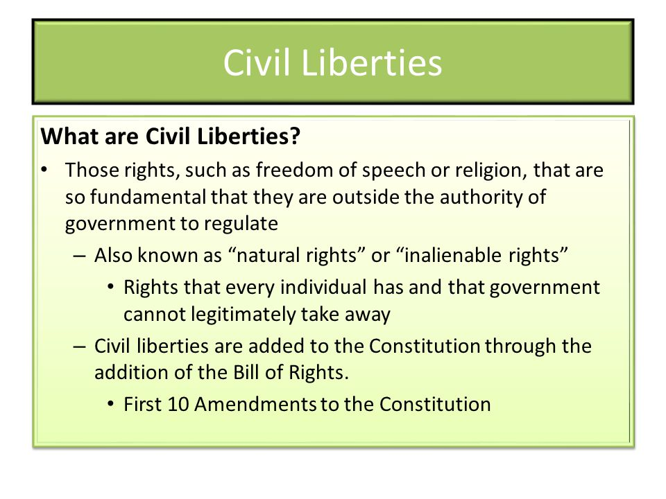 Civil Liberties What are Civil Liberties