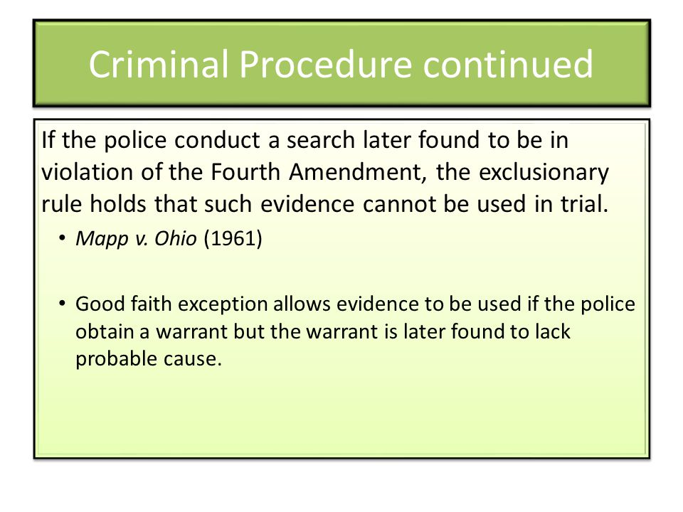 Criminal Procedure continued