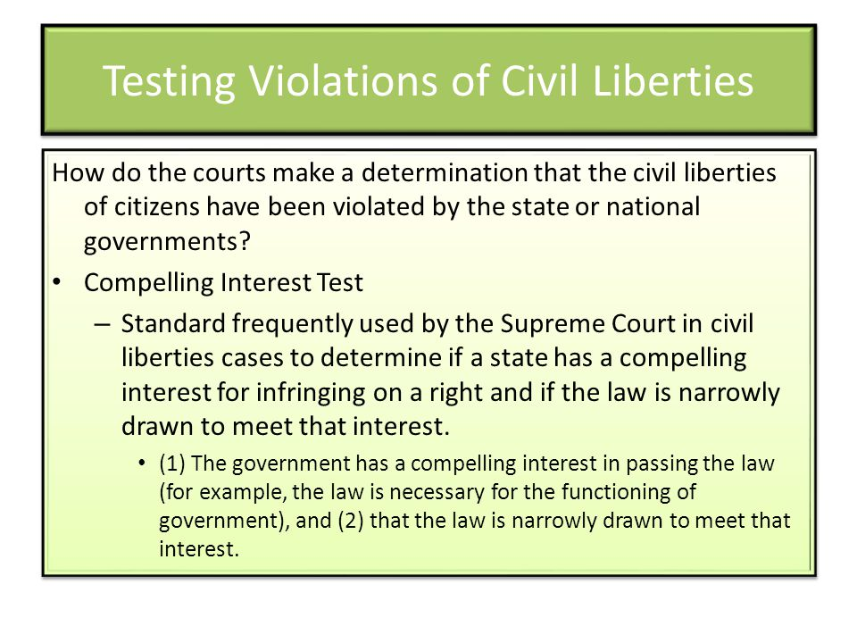 Testing Violations of Civil Liberties
