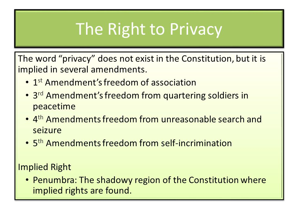 The Right to Privacy The word privacy does not exist in the Constitution, but it is implied in several amendments.