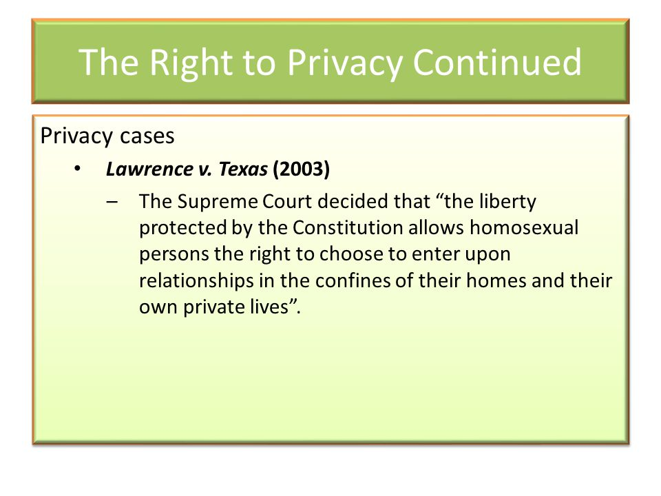 The Right to Privacy Continued