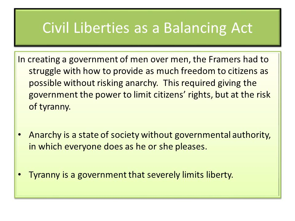 Civil Liberties as a Balancing Act