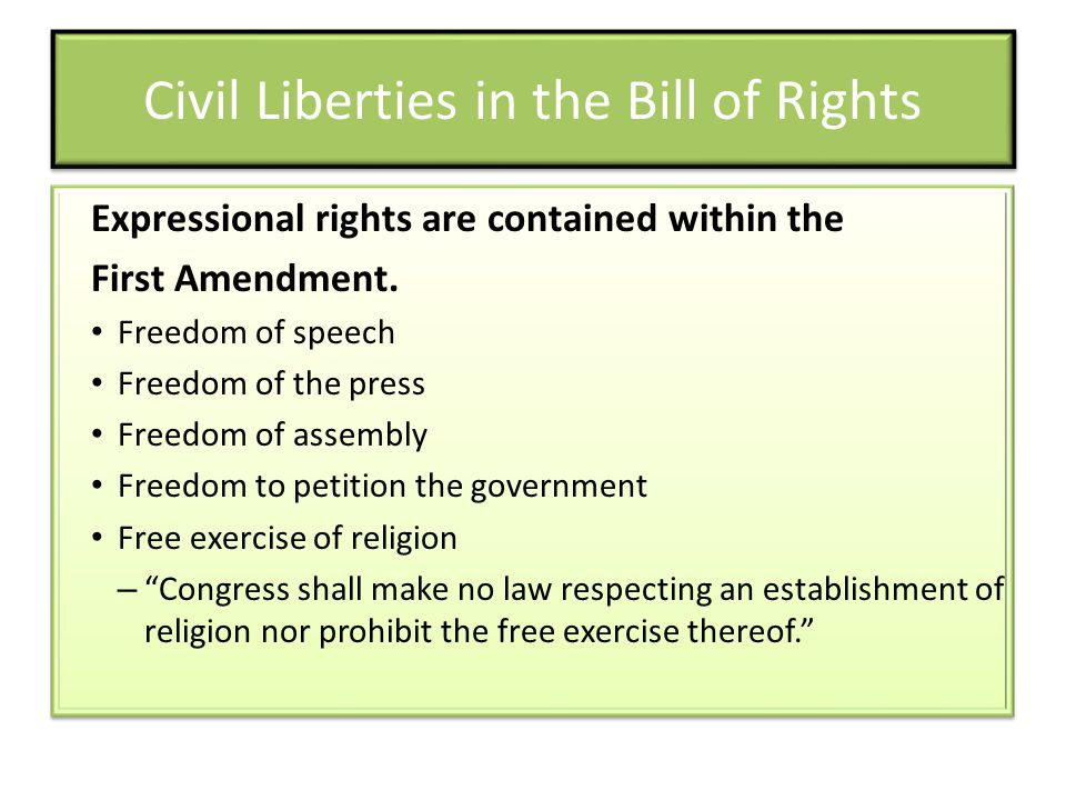 Civil Liberties in the Bill of Rights