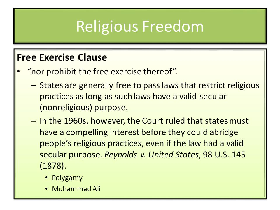 Religious Freedom Free Exercise Clause