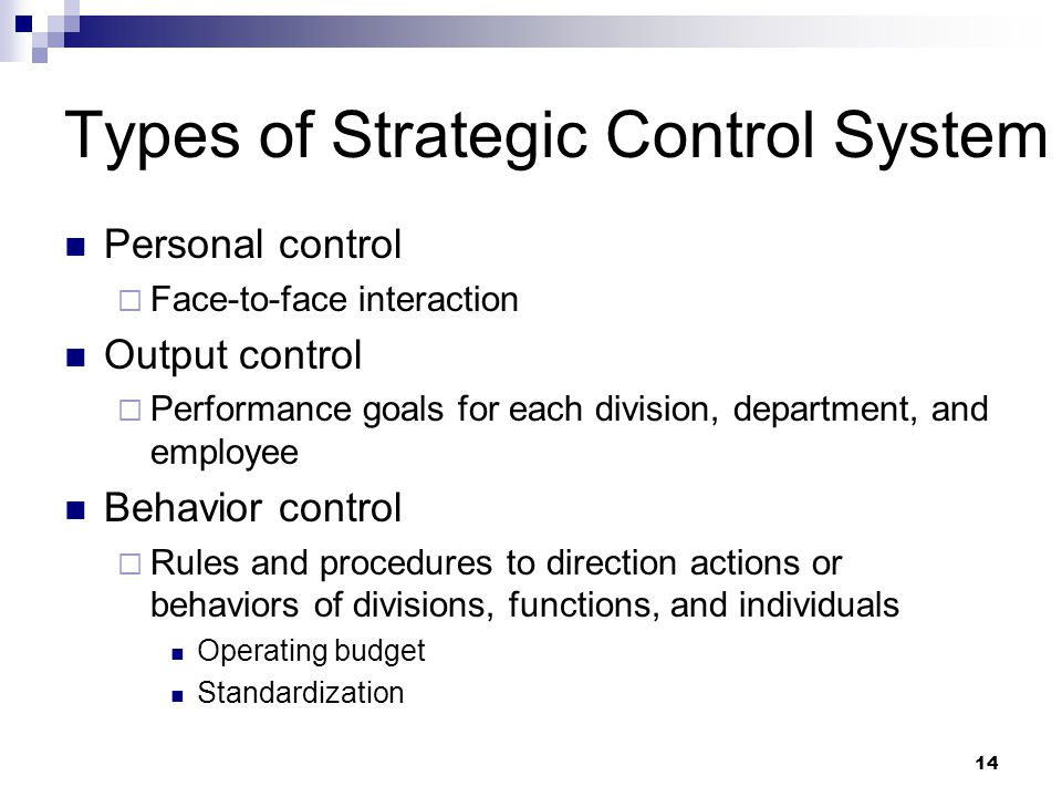 Types of Strategic Control System