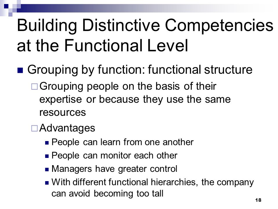 Building Distinctive Competencies at the Functional Level