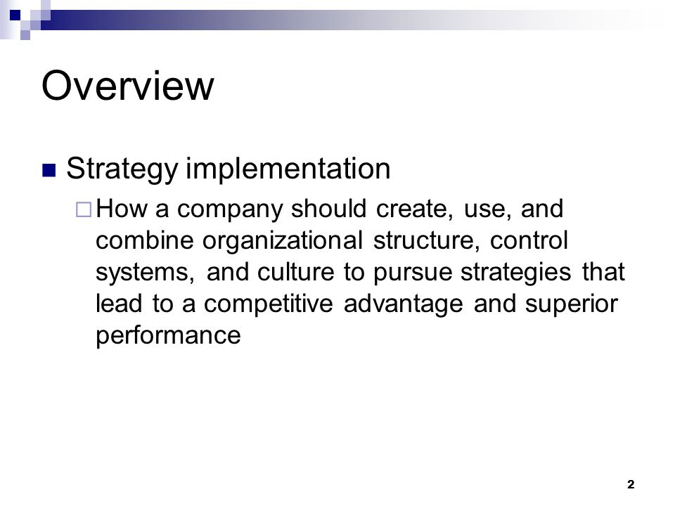Overview Strategy implementation