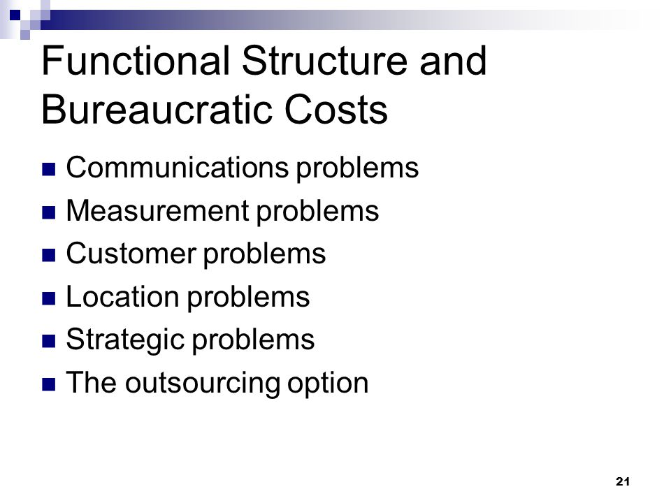 Functional Structure and Bureaucratic Costs