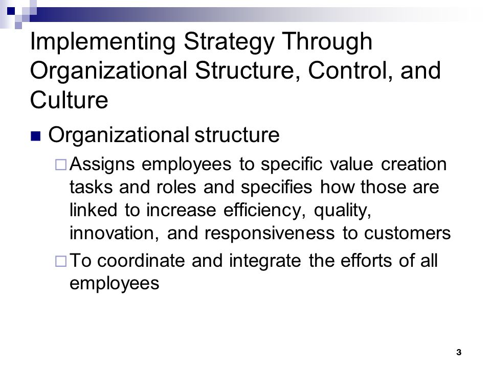Implementing Strategy Through Organizational Structure, Control, and Culture