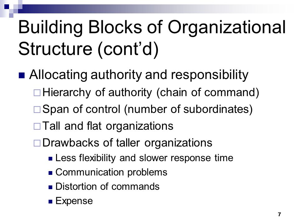 Building Blocks of Organizational Structure (cont'd)