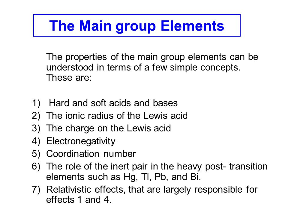 The Main group Elements